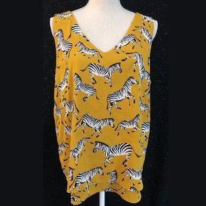 Ann Taylor Mustard Yellow Zebra Prints Tank Top
